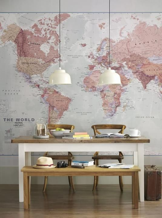 decoracao papel parede mapa