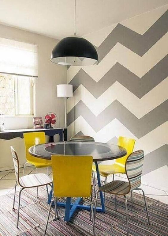decoracao papel parede sala jantar