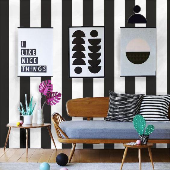 decoracao papel parede sala preto branco