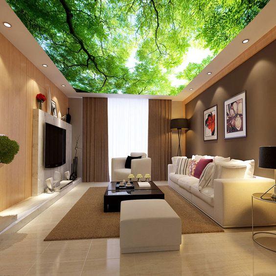 decoracao papel parede teto