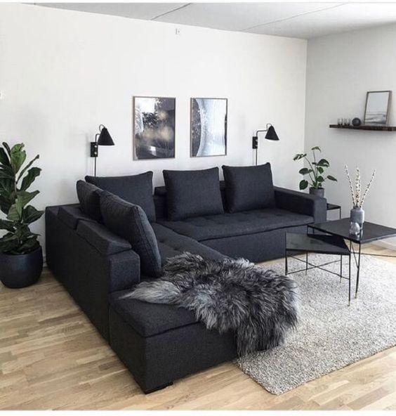 decoracao preto sofa