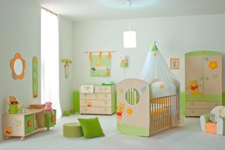 decoracao quarto bebe verde e branco