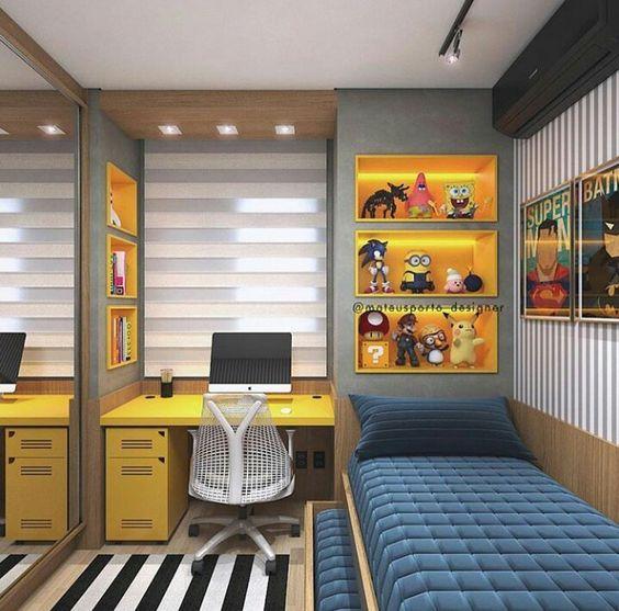 decoracao quarto menino azul amarelo