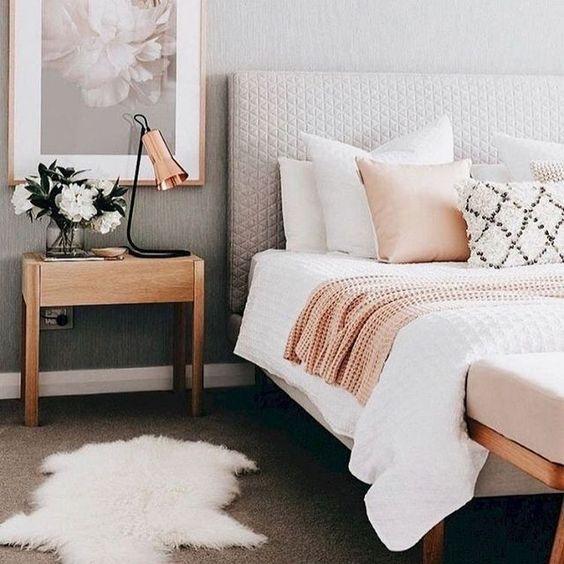 decoracao quarto romantico casal rosa gold