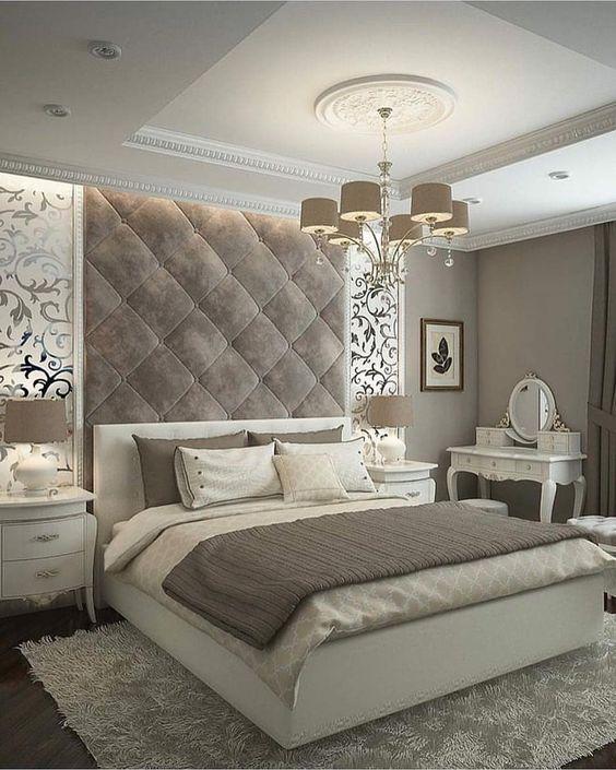 decoracao quarto romantico cinza casal