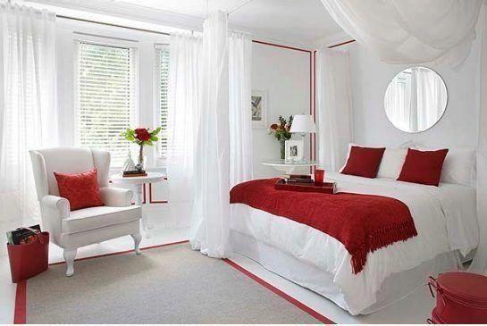 decoracao quarto romantico simples vermelho