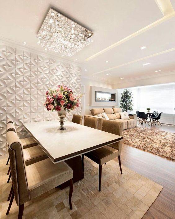 decoracao sala jantar mesa dourado