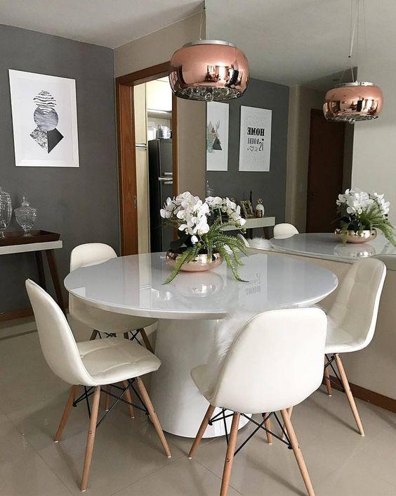 decoracao sala jantar mesa redonda