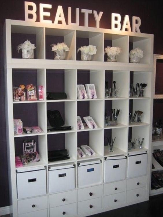 decoracao salao beleza pequeno armario