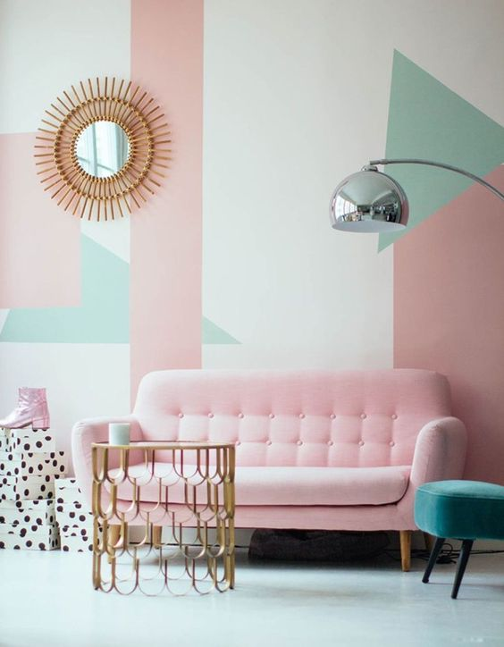 decoracao tom pastel sala geometrica