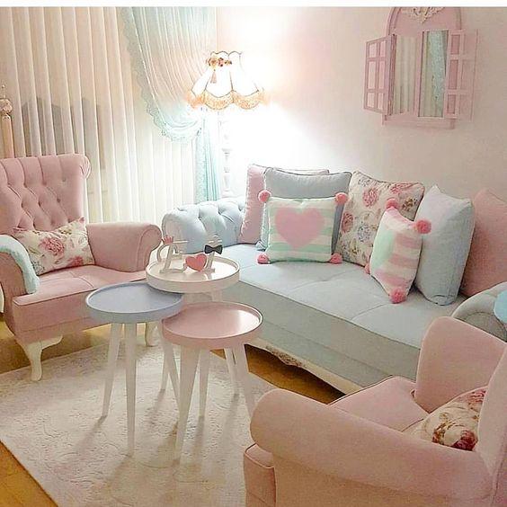 decoracao tom pastel sala simples