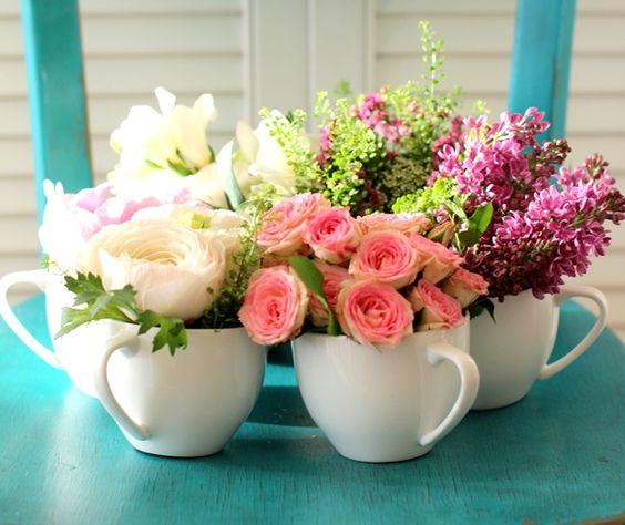 decoracao xicaras flores