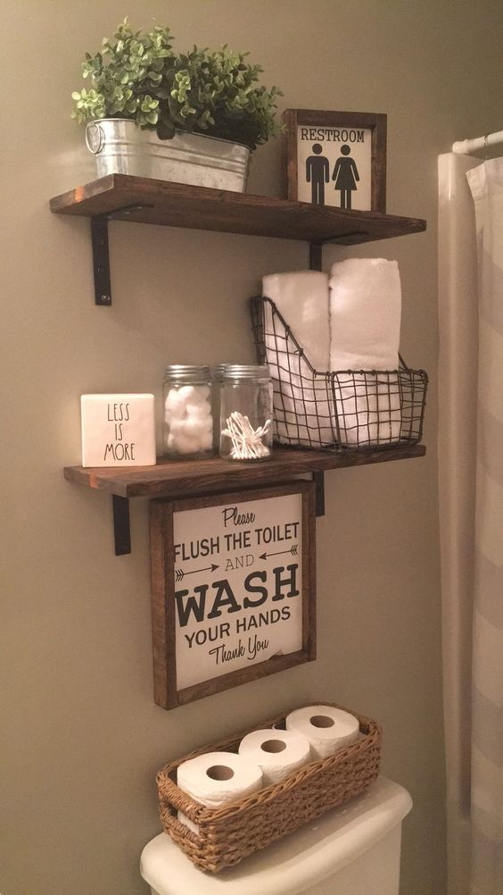 Ideias para organizar banheiro de casa - Small wall decor ideas ...