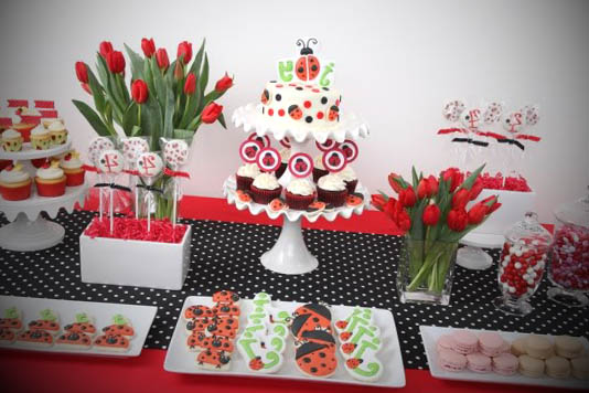 detalhe da mesa do bolo da festa da joaninha