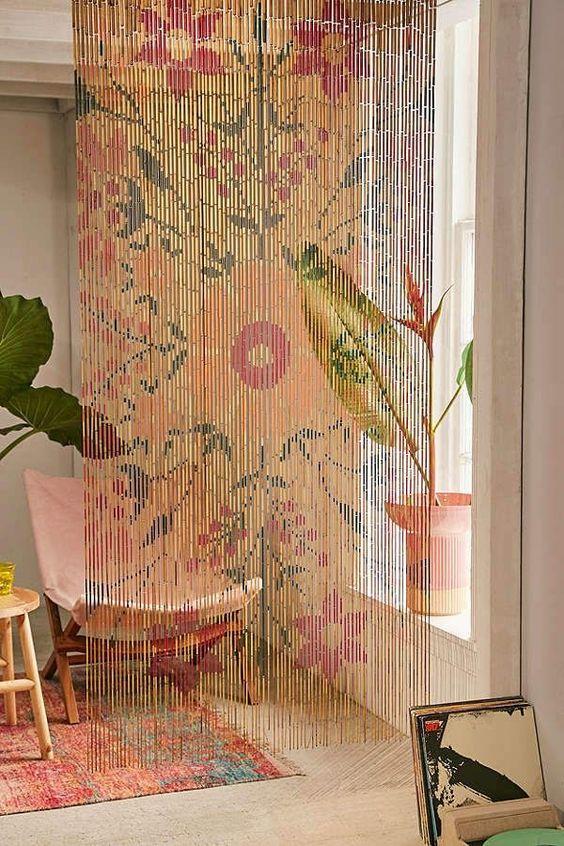 divisao ambientes cortina bambu
