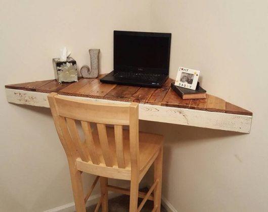 escrivaninha suspensa canto madeira