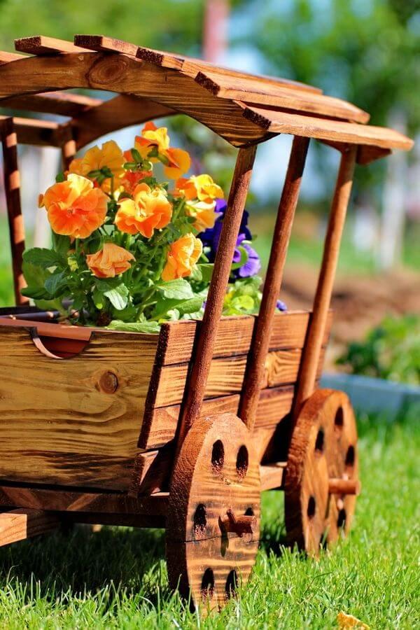 floreira madeira diy carrinho