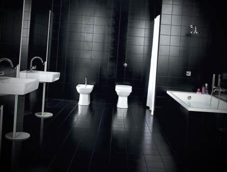 ideias banheiro preto decorado