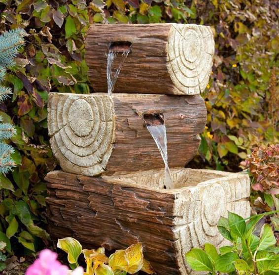 ideias de fontes de jardim de madeira