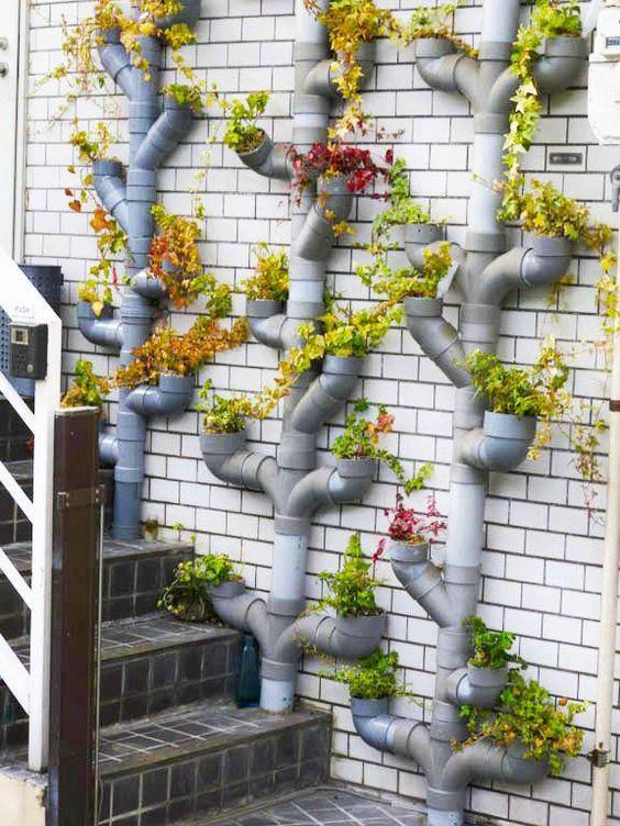 ideias de jardinagem com tubos em pvc 3