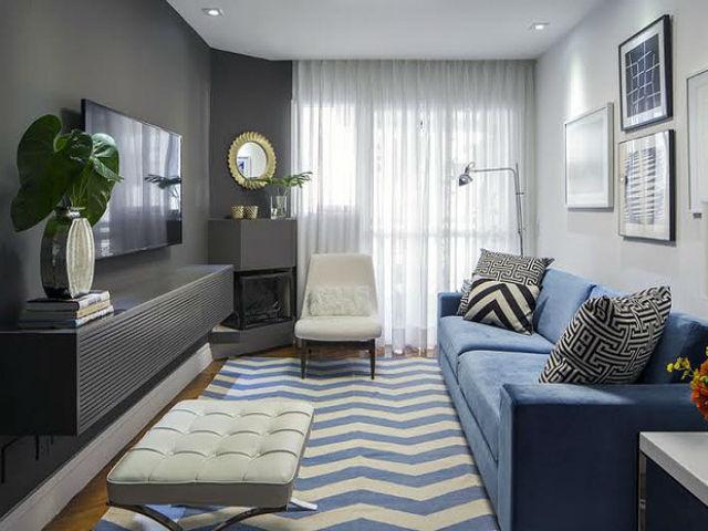 ideias decoracao sala pequena cinza azul