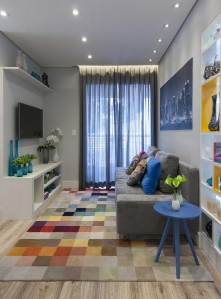 ideias decoracao sala pequena colorida