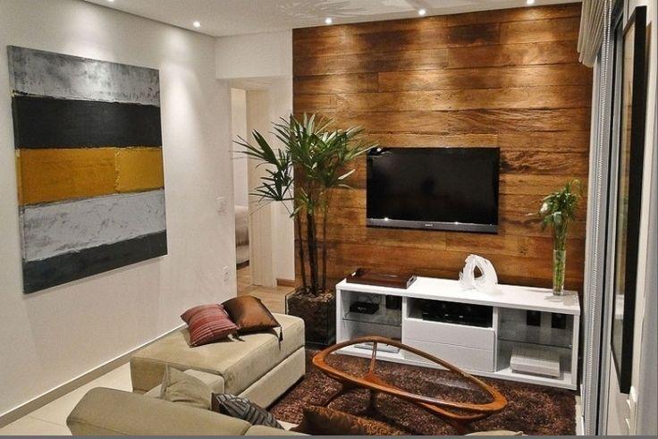 ideias decoracao sala pequena madeira