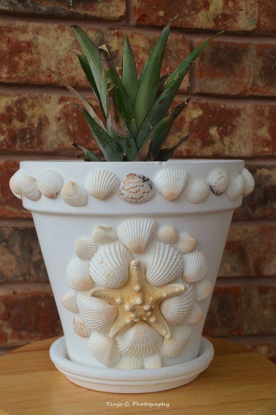 ideias decoracao vasos conchas 1
