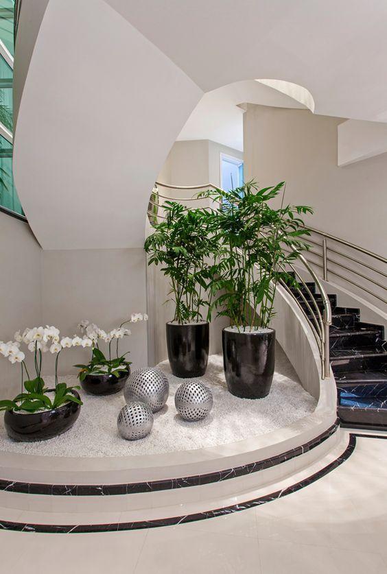 ideias decoracao vasos suporte jardim interior