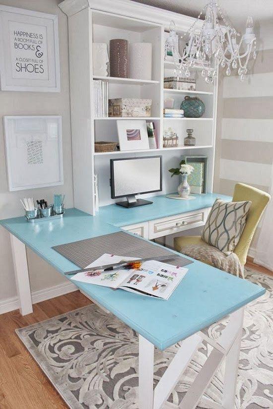 ideias giras para decorar o escritorio azul