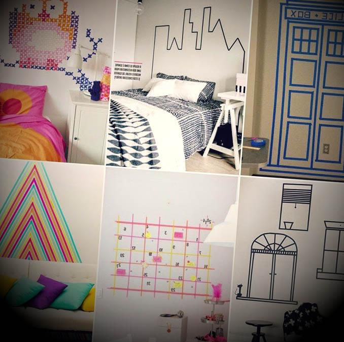 ideias paredes decoradas com fita adesiva