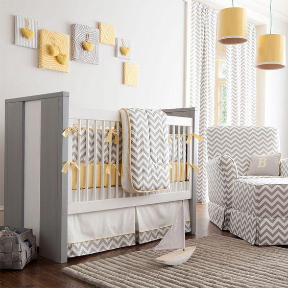 ideias quarto bebe decorado cinza amarelo