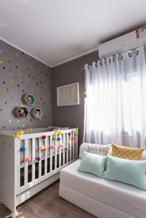 ideias quarto bebe decorado papel parede