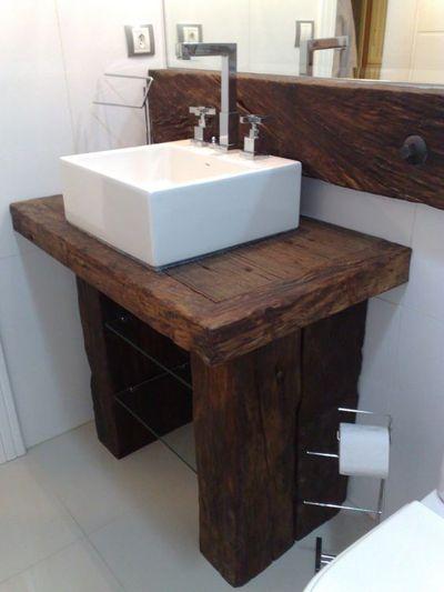 ideias rusticas decorar banheiro bancada 1