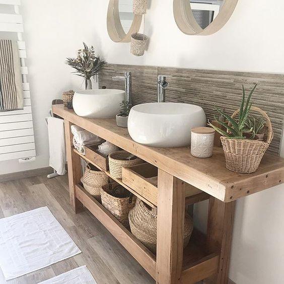 ideias rusticas decorar banheiro bancada madeira