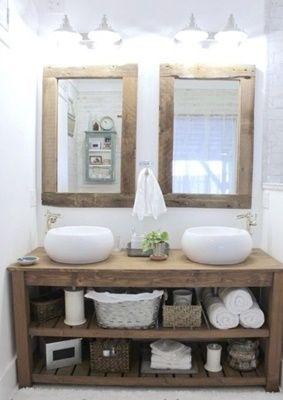 ideias rusticas decorar banheiro bancada