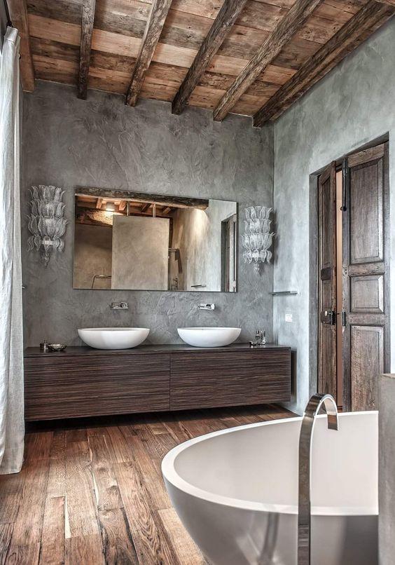ideias rusticas decorar banheiro cimento