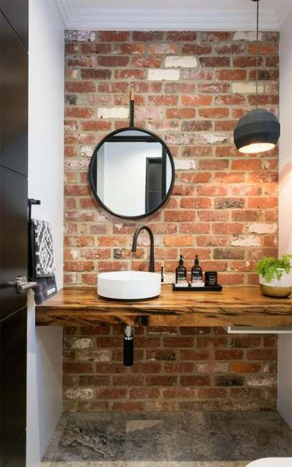 ideias rusticas decorar banheiro revestimento tijolo