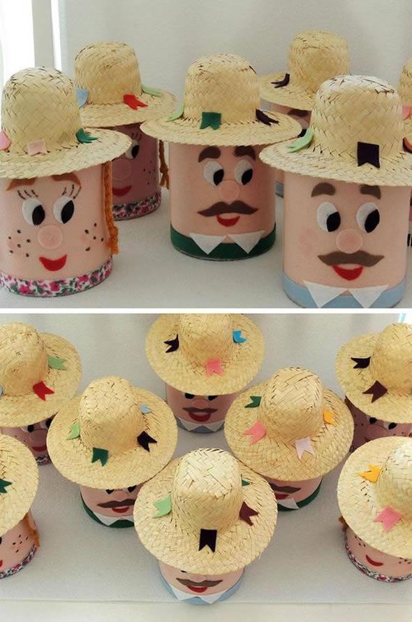 latas decoradas festa junina caipira