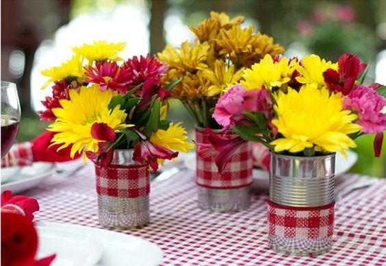 latas decoradas festa junina centro mesa