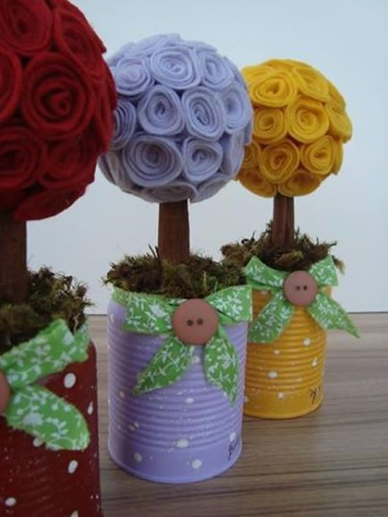 latas decoradas festa junina flor