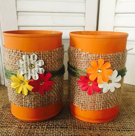 latas decoradas festa junina juta