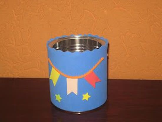 latas decoradas festa junina simples