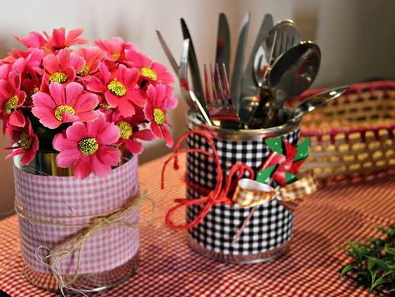 latas decoradas festa junina tecido