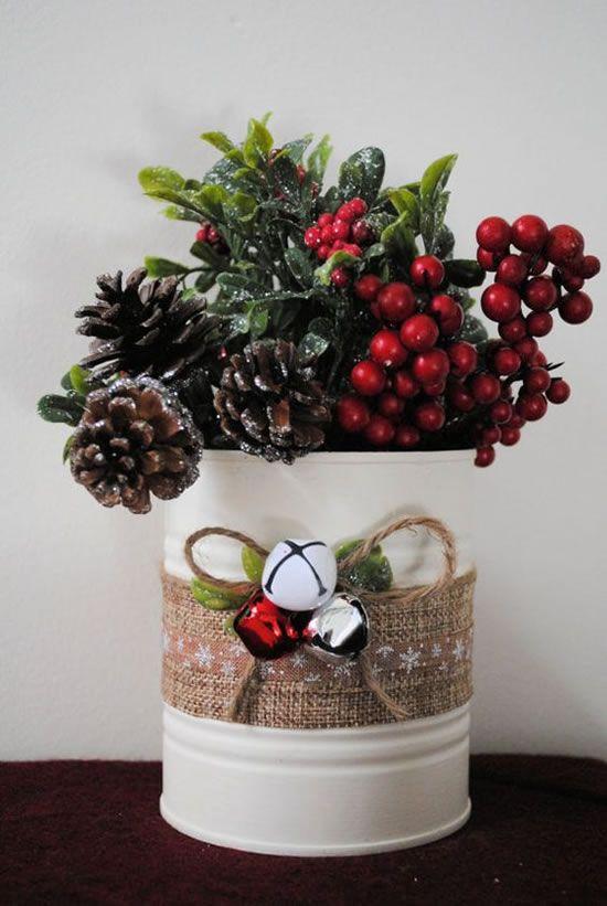 latas decoradas natal arvore centro mesa