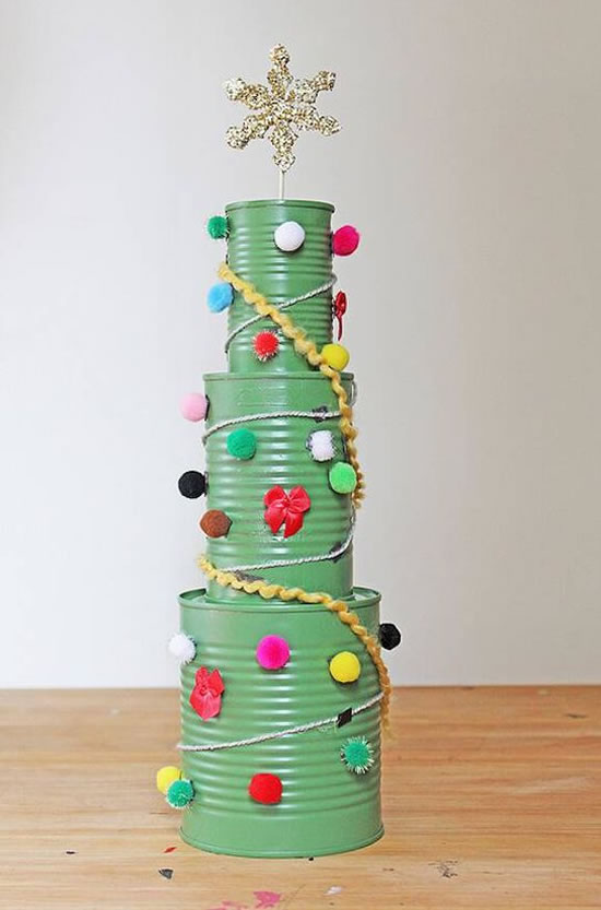 latas decoradas natal arvore natal