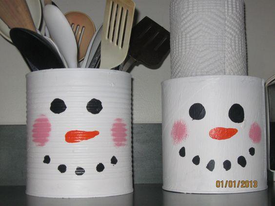 latas decoradas natal boneco neve 1
