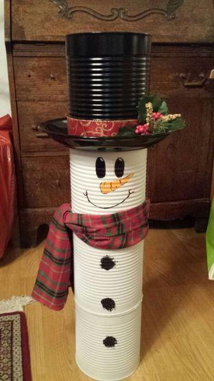 latas decoradas natal boneco neve