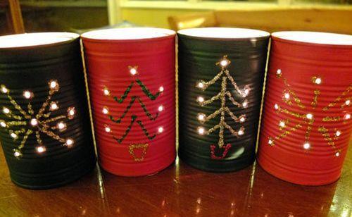latas decoradas natal luminarias