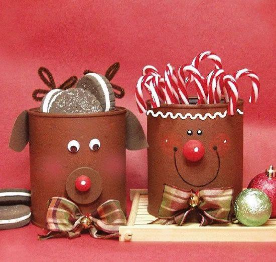 latas decoradas natal rena